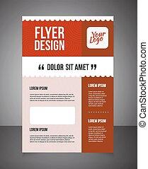 ou, print., página, negócio, impressão, text., fundo, template., oferta, folheto, voador, desenho, desenho, em branco, frente