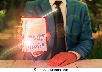ou, projection, texte, undertake, défi, signe, photo, conceptuel, accepted., participer, compétitif, situation.