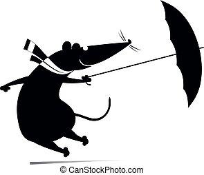 ou, rat, venteux, parapluie, illustration, jour, souris