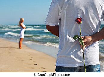ou, romanticos, seu, mulher,  rosÈ,  valentines, par, esperando, conceito, mar, casório, homem, praia, Dia, verão, amando