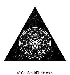 ou, runes, isolé, astrologique, signes, triangle, wicca, année, ancien, vecteur, blanc, sorcières, wiccan, la terre, mandala, symbole, protection., divination., zodiaque, occulte, mystique, symboles, roue