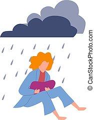 ou, só, mulher, mente, infeliz, adolescente, pensando, sozinha, isolado, menina, deprimido, ilustração, jovem, sit., vetorial
