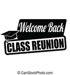 ou, selo, bem-vindo, costas, etiqueta, reunião, classe