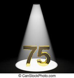 ou, soixante-dix, or, nombre, 75th, représenter, cinq, 3d, anniversaire
