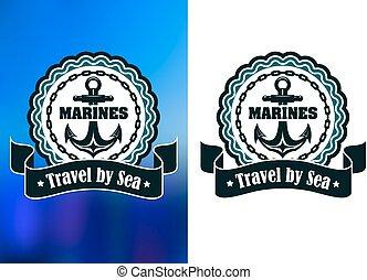 ou, soldats marine, écusson, étiquette, ancre, rond