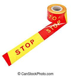 """ou, """"stop"""", plastique, sur, bande, fond, isolé, bobine, ..."""