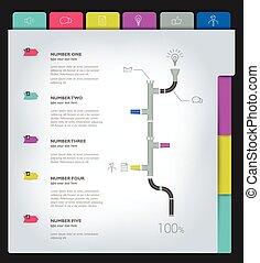 ou, teia, page., impressão, template., infographics, amostra