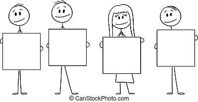 ou, tenue, femme affaires, gens, hommes affaires, vide, illustration, vecteur, quatre, dessin animé, businesspeople, signes