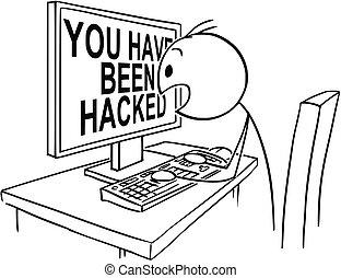 ou, ter, observar, tela, sido, tu, computador, hacked, homem negócios, mensagem, pânico, caricatura, homem