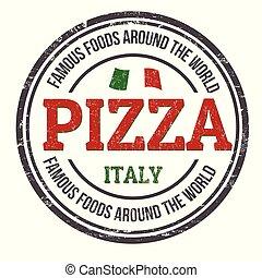 ou, timbre, pizza, signe