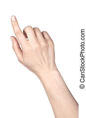 ou, tocar, apontar dedo, mulher