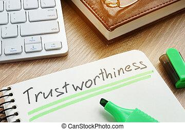 ou, trustworthiness, note., confiance, concept., digne confiance, écrit