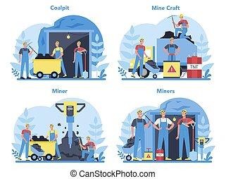 ou, uniforme, set., minerais, conceito, carvão, trabalhador, capacete, mineração
