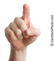 ou, urgent, pointage, toucher, white., main, mâle, caucasien
