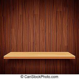 ou, vazio, seu, prateleira, madeira, madeira, exposição, ...
