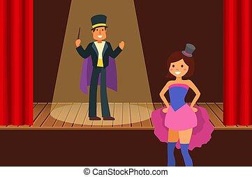 ou, vecteur, homme, magique, cirque, fête, divertissement, gens, baguette, illusionniste, magicien, illustration., performance, carnaval, show., magie, aide, théâtre, girl, chapeau