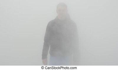 ou, venir, eau blanche, vapeur, brouillard, homme, par