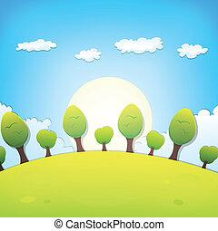 ou, verão, paisagem, caricatura, primavera