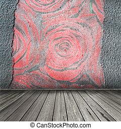 ou, vide, couverture, salle, photo, pages, modèle, vieux, roses, mur, bois, plafond, galerie, réaliste, exhibition., conception, vendange, sans, 3d, plâtre, floor., fond, album, intérieur