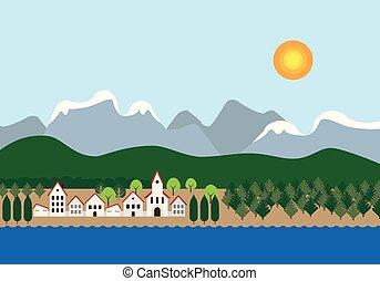 ou, ville, collines, montagnes, bleu, neigeux, ciel, soleil, -, lac, sous, église, rivière, conception, plat, forêt, fond, petit