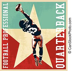 football quarterback vector for T-shirt printed and poster