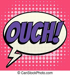 Ouch comic book bubble text retro style