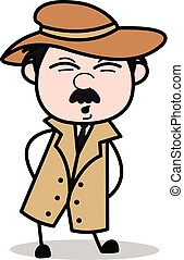 Ouch Expression - Retro Cartoon Police Agent Detective Vector Illustration