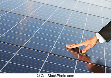 ouch renewable energy systems - Business Hand touch...