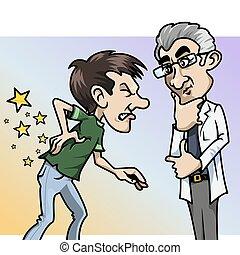 Ouch! What a pain, doctor! - Cartoon-style illustration: a...