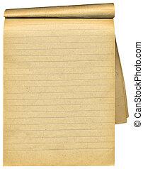 oud, aantekenboekje, met, leeg, tattered, pages., op, witte