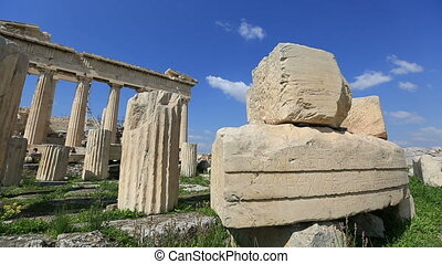oud, acropolis, in, athene, griekenland