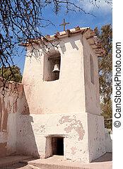 oud, adobe, kerk, in het platteland, van, argentina.