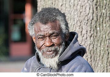 oud, afrikaanse amerikaan, dakloos, man