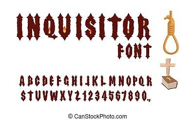 oud, alphabet., middeleeuws, heilig, vuur, inquisitor, accessoires, cross., inquisitor:, bijbel, gotisch, getallen, font., beul, brieven, lettertype, inquisition., fire.