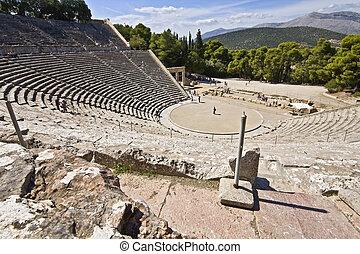 oud, amphitheater, van, epidaurus, op, peloponisos, griekenland