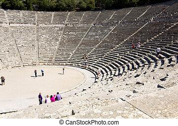 oud, amphitheater, van, epidaurus, op, peloponnese, griekenland