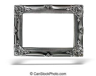 oud, antieke , zilver, frame, op, witte achtergrond