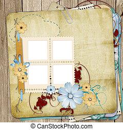 oud, armoedig, stijl, photoalbum, met, papier, lijstjes,...