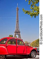 oud, auto, eiffel, parijs, frankrijk, toren, rood