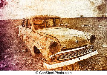 oud, auto, op, field., foto, in, veelkleurig, beeld, stijl