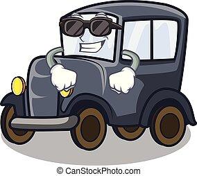 oud, auto, vrijstaand, fantastisch, spotprent, koel