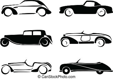 oud, auto's, silhouettes, set, vector.