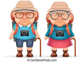 oud, backpacker, foto, paar, karakter, vrijstaand, illustratie, realistisch, vector, ontwerp, 3d, fototoestel, spotprent, reizen