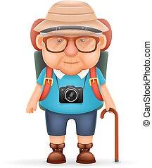 oud, backpacker, foto, reizen, karakter, vrijstaand, illustratie, grootvader, realistisch, vector, ontwerp, man, fototoestel, spotprent, 3d