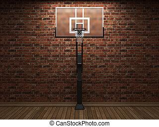 oud, baksteen muur, en, basketbal