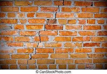 oud, baksteen muur, met, barst