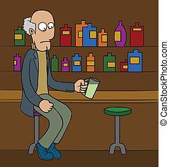 oud, bar, man