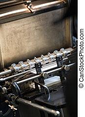 oud, bezig met afdrukken van, machine