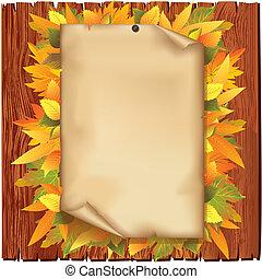 oud, bladeren, gele, herfst, papier, achtergrond