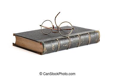 oud, boek, en, bril